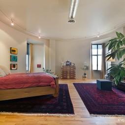 混搭风格三室一厅创意主卧室圆形吊顶装修图片