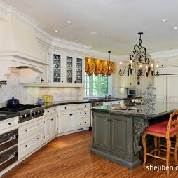 2017欧式风格L型开放式20平米家庭白色橱柜厨房餐厅一体装修效果图