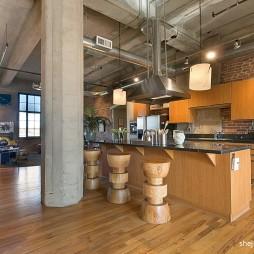 2017混搭风格别墅开放式厨房吧台个性椅子装修效果图片