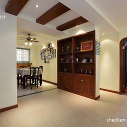 家装三居室餐厅相片墙前面酒柜隔断装修效果图