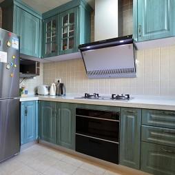 2017混搭风格L型整体8平米家居浅蓝色橱柜装修效果图