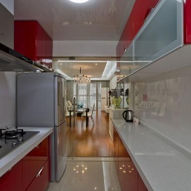 2013现代风格整体6平米家居红色橱柜集成吊顶厨房餐厅过道装修效果图