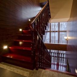 2017中式风格别墅室内高档全木楼梯扶手装修效果图