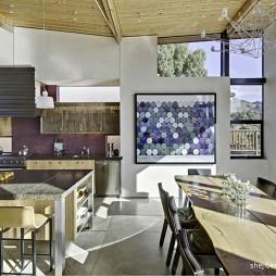 现代风格别墅厨房餐厅装修效果图