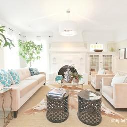 完美简欧客厅不靠墙沙发效果图