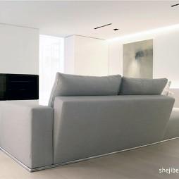 纯白色调现代风客厅不靠墙沙发效果图
