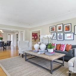 简约欧式大户型客厅沙发背景墙效果图