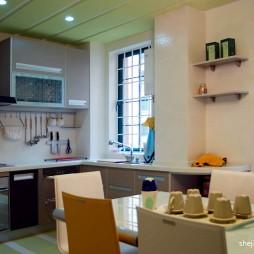 2017田园风格L型开放式8平米室内绿色吊顶厨房餐厅一体装修效果图