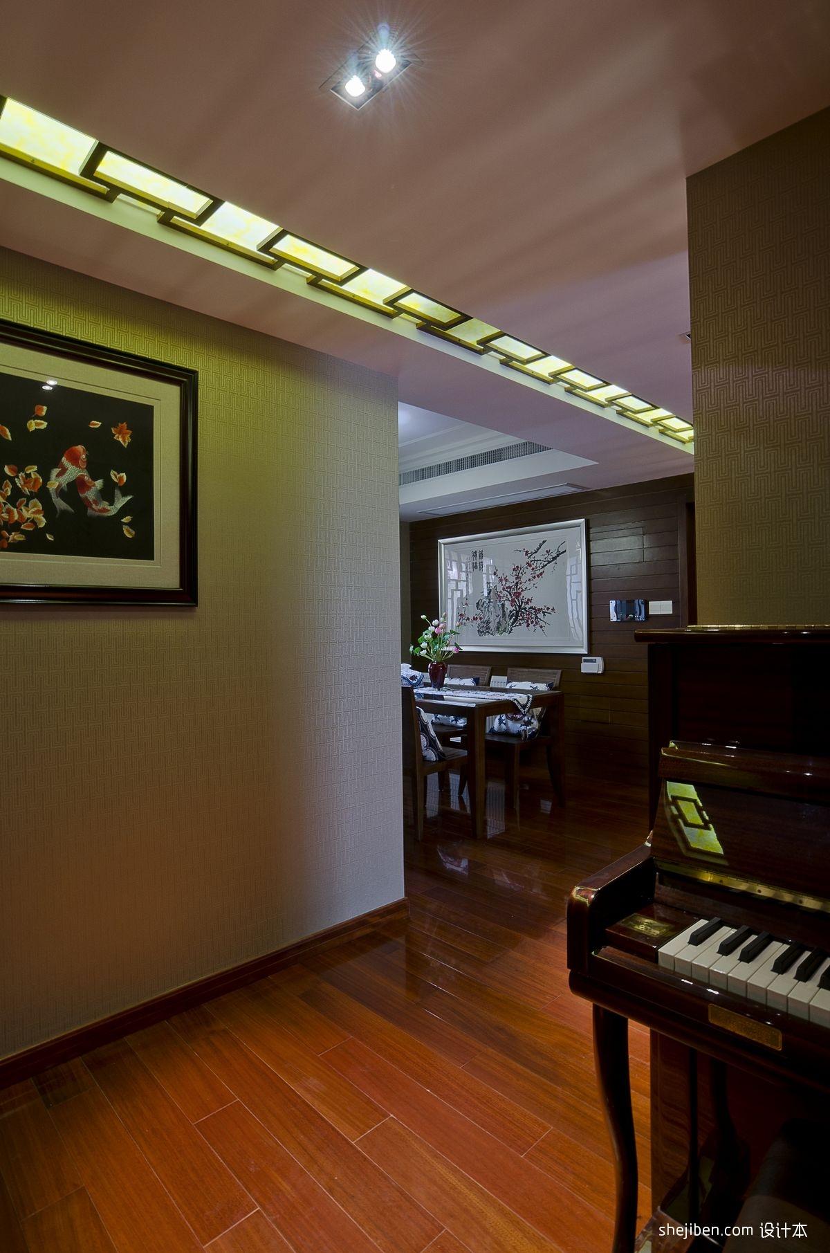 简欧风格卧室_中式风格复式家装餐厅与钢琴房过道吊顶装修效果图 – 设计本 ...