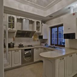 2017欧式风格开放式U型5平米小面积家居白色橱柜厨房吊顶装修效果图