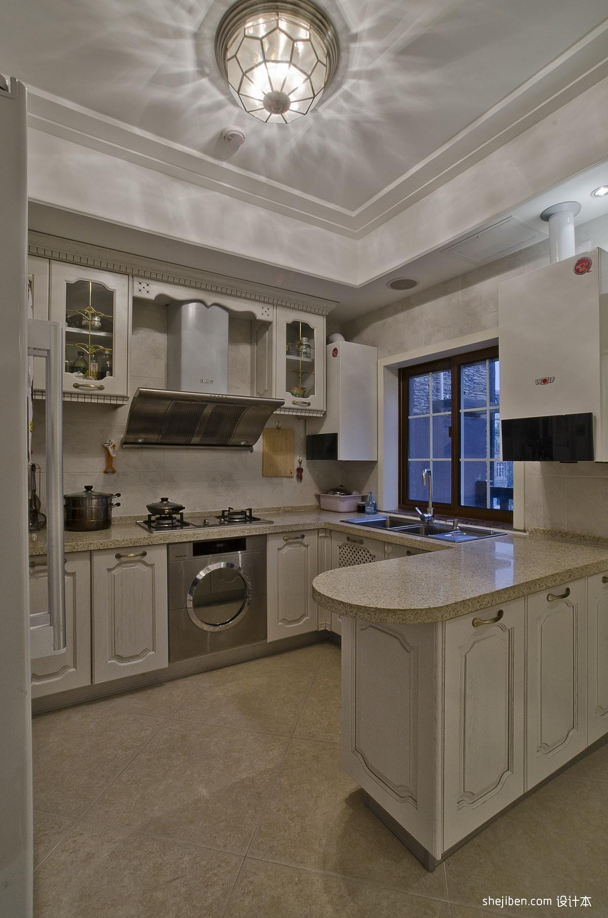 热门资讯_2017欧式风格开放式U型5平米小面积家居白色橱柜厨房吊顶装修 ...
