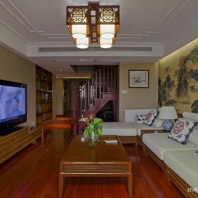 新中式跃层木地板家装客厅效果图