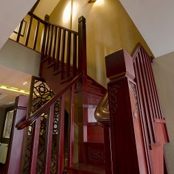 2017中式风格复式室内红木楼梯扶手装修效果图