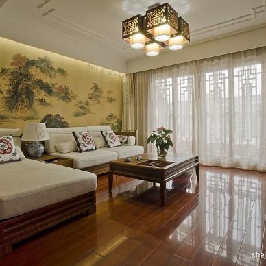 中式别墅客厅背景墙贴画效果图