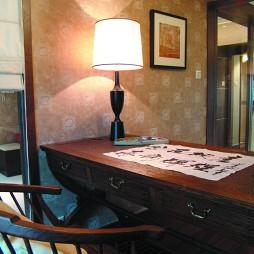 2017中式风格样板间温馨书房壁纸书桌装修效果图