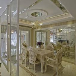 120平米欧式风格餐厅玻璃隔断门设计装修效果图