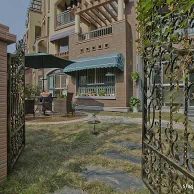 欧式风格三居室一楼入户休闲花园桌椅装修效果图片