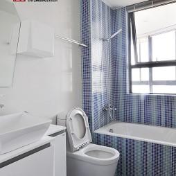 现代风格三居室新潮主卫生间吊顶马赛克瓷砖洗手盆装修图片