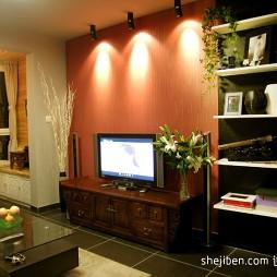 小型客厅实木电视柜设计装修效果图