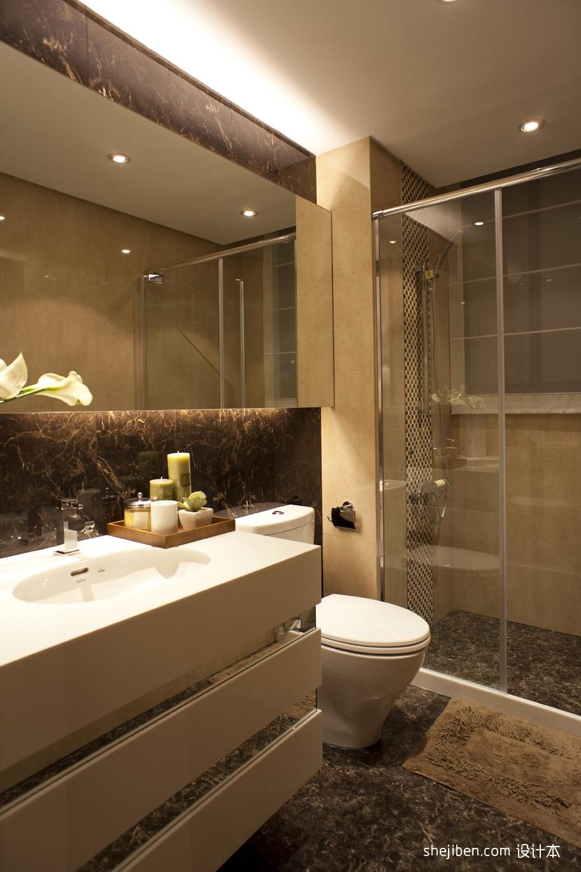尧尧_混搭风格样板房干湿两用卫生间淋浴房防滑地砖装修效果图 – ...