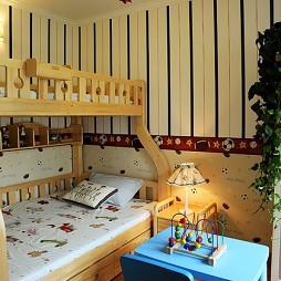 美式风格三室一厅最新小面积双人床儿童房双层床设计装修效果图片