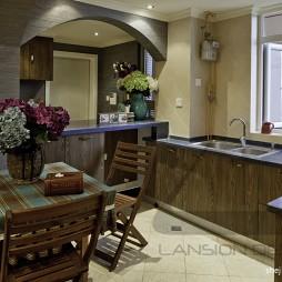 2017田园风格u型敞开式8平米家庭餐厅厨房一体装修效果图