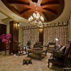 美式风格客厅窗帘装修效果图