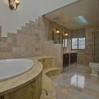 美式风格别墅豪华整体卫生间吊顶带浴缸大理石瓷砖装修图片