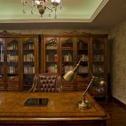 2017美式风格别墅豪华书房书柜吊灯装修效果图