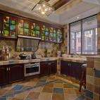 美式风格敞开式厨房藻井式吊顶装修效果图片