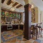 2013美式风格敞开式u型8平米彩色橱柜厨房地砖拼花装修效果图