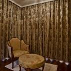美式风格别墅客厅拐角碎花窗帘设计效果图