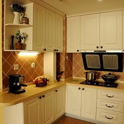 2017地中海整体L型5平米家庭厨房橱柜装修效果图
