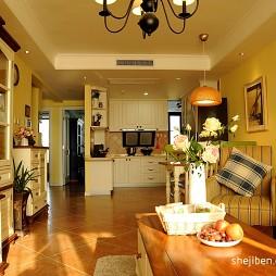 地中海风格80平米敞开式厨房客厅走廊储物柜设计效果图