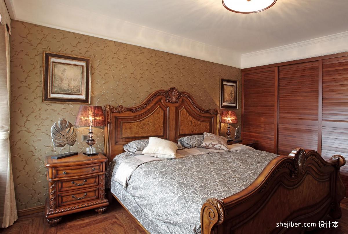 卧室壁纸效果图_美式风格卧室进口壁纸效果图 – 设计本装修效果图