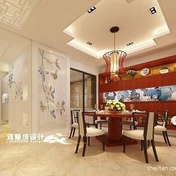 中式餐厅吊顶吊灯装修效果图片