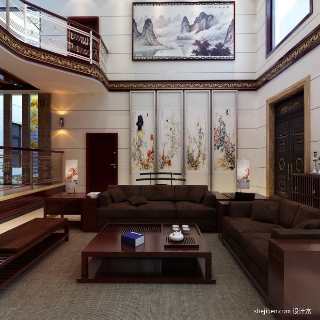客厅柚木色沙发图片
