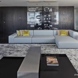 现代风格40平米家装客厅不吊顶玻璃隔断兼书房设计效果图