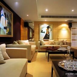 中式别墅手绘客厅挂画背景墙效果图