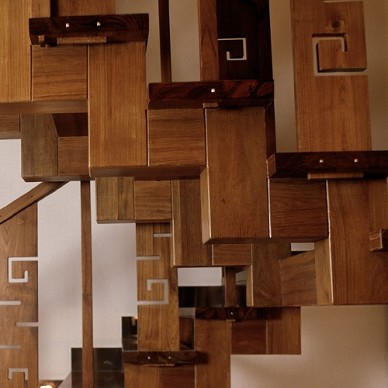 中式风格组合楼梯效果图