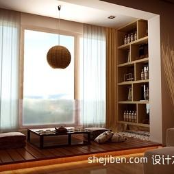 东南亚风格橡木色飘窗效果图