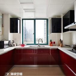 2017现代简约整体U型8平米家居厨房红色橱柜装修效果图