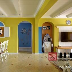 地中海风格客厅与餐厅装修图片