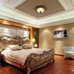 2017新古典风格别墅豪华床头软包80后婚房卧室吊顶装修效果图