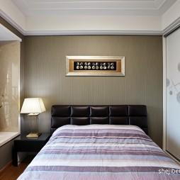 现代风格样板房宜家单间卧室床头背景墙窗台移门装修效果图