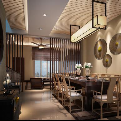 昆明西门古镇样板房中式餐厅背景墙创意吊灯装修效果图