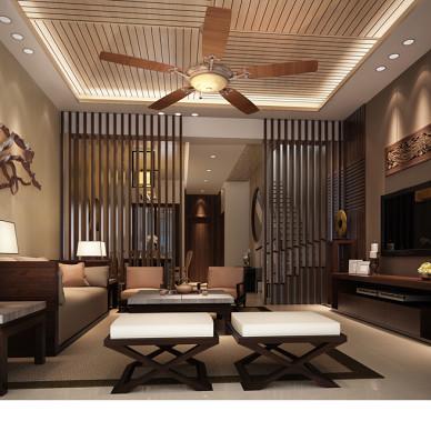 昆明西门古镇样板房中式客厅镂空隔断装修效果图