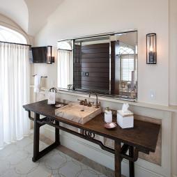 2017中式風格二室一廳家用洗手盆地磚拼花吊頂裝修效果圖
