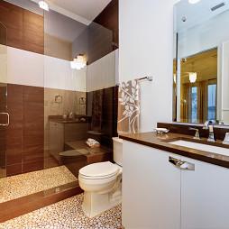 2017现代风格别墅家居卫生间淋浴房推拉门装修效果图欣赏