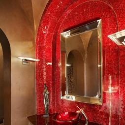 新古典风格3室1厅小面积卫生间马赛克瓷砖洗手盆装修效果图